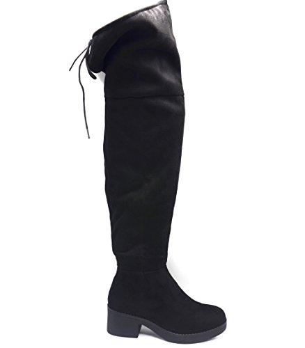 SHF80 * Cuissardes Bottes Longues Effet Daim Uni avec Petit Talon Carré et Lacet - Mode Femme (Noir)