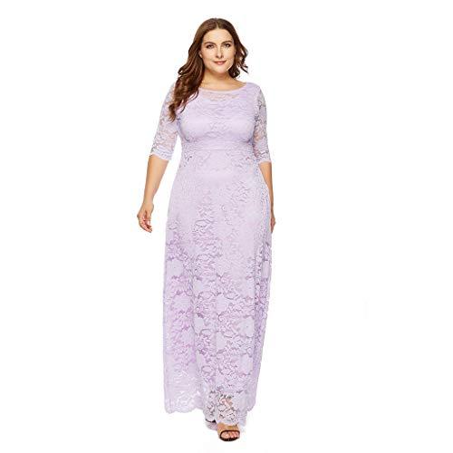 Luckycat Frauen Feste Übergröße Vintage Floral Lace Plus Size Cocktail Formale Swing Kleider Abendkleider Schwingenkleid Partykleider Blusenkleid