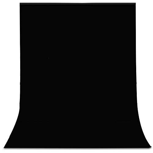 UTEBIT Hintergrund Schwarz Tuch 1.8x2.8M/ 6x9FT Fotostudio Black Backdrop Background Faltbare Hintergrundstoff Blackscreen mit Stangentasche...