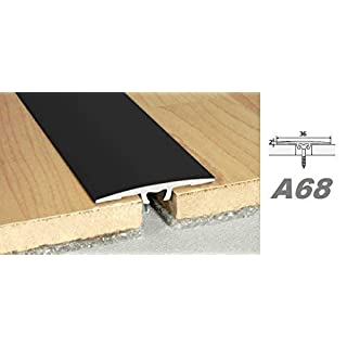 Aluprofile, Bodenleiste Durchgangprofil Alu Übergangsleiste easy fix 36x2mm, A68, Länge:0.90 Meter, Farbe:Schwarz