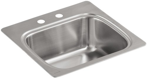 1.438 (Kohler k-3382-2-na Vers single-basin self-rimming Entertainment Küche Spüle mit Zweilochmontage Wasserhahn Stanz)