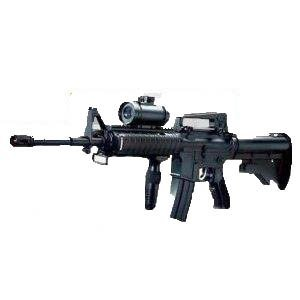 Militär Ball Cap (Automatik Softair-Gewehr schwarz Schalldämpferattrappe 6 mm MX Mid Cap High Cap Combat Sturmgewehr Hop Up elektrisch Set inkl. Tragegurt, Schutzbrille, 1000 Kugel unter 0,5 Joule ab 14 Jahre)