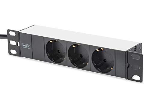 """DIGITUS 10\"""" Aluminium Steckdosenleiste 3-fach - 10 Zoll (254 mm) - Mehrfach-Steckerleiste zum Einbau in Netzwerk-/Serverschränke - Silber/Schwarz"""
