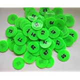 Prime-Arfa- Green - Plastic Token/Coins with Numeric Numbers 1 to 100, Pack of 100 Coins.