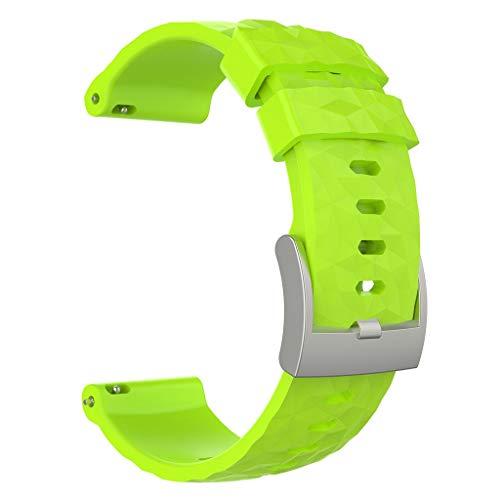 Für Suunto Spartan Sport Wrist HR Baro/Suunto 9 Armband,Colorful Sport Silikon Uhrenarmband Ersatzarmband Einstellbar Handgelenk Strap Band für Suunto Spartan Sport Wrist HR Baro/Suunto 9 (Grün)