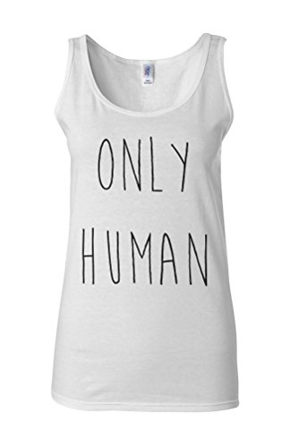 Only Human Funny Cool Novelty White Femme Women Tricot de Corps Tank Top Vest **Blanc
