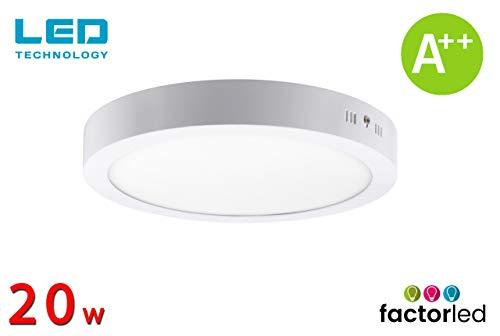 FactorLED ¡NOVEDAD! Downlight Panel Superficie LED Circular 20W, Plafón redondo para techo y pared...