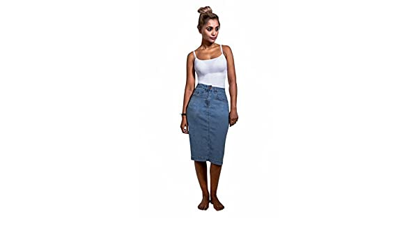 86b0418a85 Uskees Nancy Mid-Length Denim Skirt - Palewash Straight Jean Skirt with  Stretch NANCYPW: Amazon.co.uk: Clothing