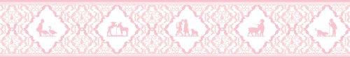 Gräflich Münster'sche Manufaktur 3er Set - selbstklebende Kinder Tapetenborten, Bordüren, Tapeten Borte mit Scherenschnitt Klassiker in rosa, 3x5m ein Kinderzimmer Blickfang