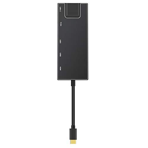 Deniseonuk Multifunktionale Dockingstation Typ - c zu HDMI 2 Ports USB3.0 SD TF Kartenlesung Gigabit Netzwerk Port PD HUB 7 in 1