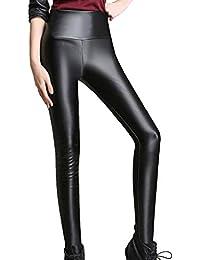 678fd46029 Mxssi Leggings Cuero Mujer Cintura Alta Leggings Stretch Slim Legging Negro  Moda PU Pantalones Cuero Mujeres
