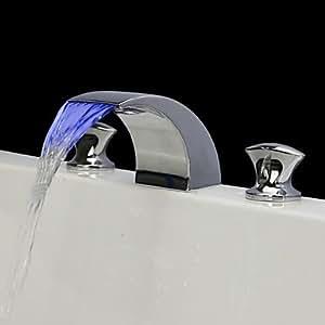 Chrom drei Löcher Ende zwei Griffe Farbwechsel LED Wasserfall verbreitet Waschbecken Wasserhahn