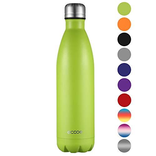 ecooe Thermosflasche 500ml-750ml Doppelwandig Trinkflasche Edelstahl Wasserflasche Vakuum Isolierflasche (750ml, Grün) -