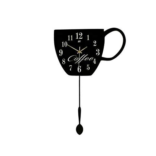 Reloj de Pared Grande Silencioso Taza de té Reloj de Madera Restaurante...