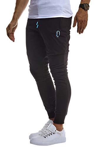 Jungen Sport Hose (LEIF NELSON Herren Trainingshose Sporthose Slim Fit | Männer Fitnesshose Jogginghose Lange Fitness-Hose für Sport Training Bodybuilding | Jungen Sweatpants Jogging | LN8298; L; Schwarz-Türkis)