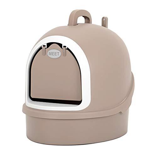Toilette per gatti lettiera del Gatto, lettiera Grande capacità, WC Gatto, Completamente Chiusa Anti-spruzzo ed Efficace soppressione di Odore (Color : Gray)