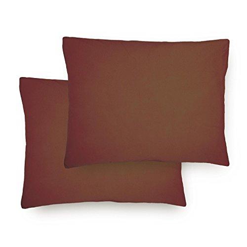 Lumaland Comfort Jersey Kissenbezug 2er Set aus 100 % Baumwolle mit Reißverschluss 70 x 90 cm Braun (Kissenbezüge Braun Standard)
