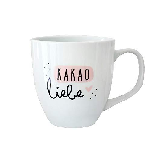 Odernichtoderdoch Jumbo-Tasse | Kakaoliebe | Porzellan - 400 ml Volumen - weiß und rosa - mit Henkel Jumbo-tasse