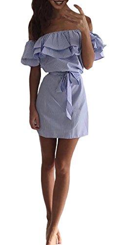 Schulterfrei Minikleider Damen off-shoulder Strandkleider Ohne Träger Kleid Ärmellos Streifen Sommerkleid Blau XL