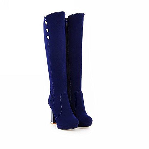 VogueZone009 Damen Ziehen auf Hoher Absatz Mattglasbirne Eingelegt Hoch-Spitze Stiefel, Rot, 40