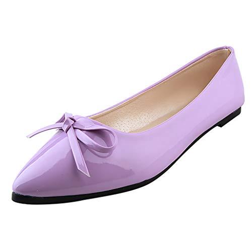 Wawer_ womanshoes Wawer✿ - Fashion Süßigkeitfarbe Flacher Zeigte Lackleder Einzelne Schuhe -Große Damenschuhe Frauen Espadrilles Lässig Sandalen Strandschuhe Einzelne Schuhe High Heels