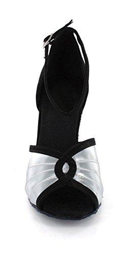 Minitoo da donna svasato tacco cinturino alla caviglia a pieghe Moda Classica moderna scarpe da ballo Silver