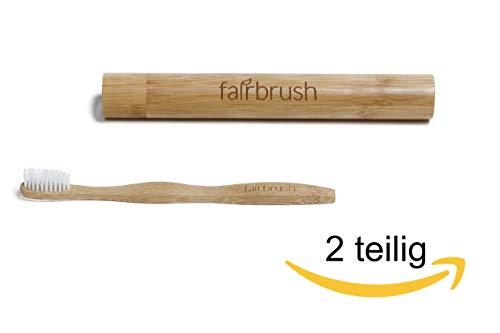 Premium Zahnbürstenetui aus Bambus inkl. Bambuszahnbürste mit guter Tat - ideal für Reisen - Zahnbürstenhülle/Reiseetui und Zahnbürste aus Bambus - Fairbrush - Enrico Bambus
