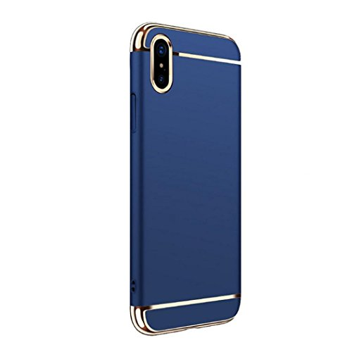 Ouneed® Für Iphone X Hülle ,3 in 1 Ultra-thin 360 Full Body Anti-Scratch Shockproof Hard PC Non-Slip Skin Smooth Back Cover Case with Electroplate Bumper For iPhone X (Schwarz) Blau