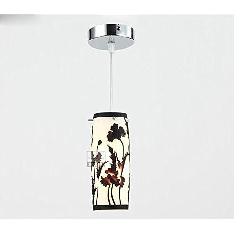 MEHE--- Lampada a sospensione singola lampadina Forma Cerchio lastra di vetro del supporto di base Ombra Ferro