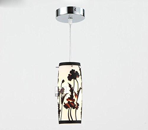 PIGE Lampada a sospensione singola lampadina Forma Cerchio lastra di vetro del supporto di base Ombra Ferro