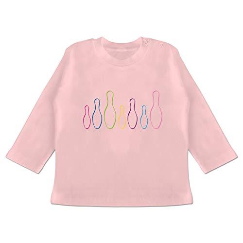 Sport Baby - Kegel Pins bunt - 18-24 Monate - Babyrosa - BZ11 - Baby T-Shirt Langarm