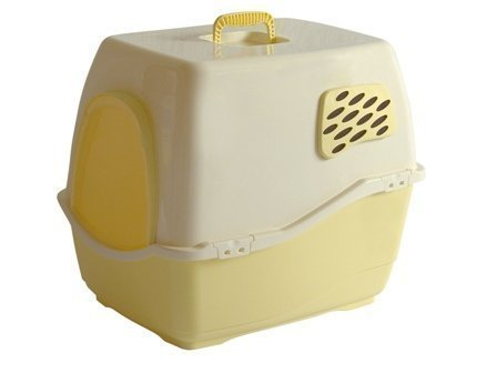 Marchioro Bill 1F Covered Cat Litter Pan with Filter, Small/Medium, Tan/Soft Yellow by Marchioro