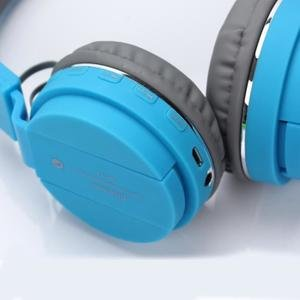 SH-12 wireless headphones stretchable foldable with Bluetooth and inbuilt microphone and SD card slot(Blue) Image 3