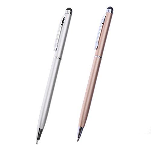 Gazechimp 2 Stk. Dünne-Spitze Eingabestifte Kapazitiv Eingabestift Touchbildschirm Stylus Stift für Handys und Tablets -Gold + Silber