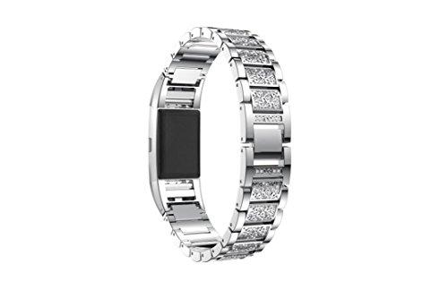 Preisvergleich Produktbild SHOBDW Schlussverkauf Fitbit Charge 2 armband,  Neuankömmling Luxus Kristall Edelstahl Metall Armband Armband für Fitbit Charge 2 (135-235MM,  Silber)