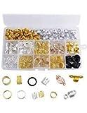 Dreamtop 200 piezas de bobina de aluminio para cabello con cuentas de metal para trenzas de pelo, accesorios de decoración para el cabello con caja de almacenamiento