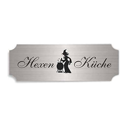 Schild im metallischem Look « HEXENKÜCHE » ca. 15 x 5 cm - mit Motiv HEXE am KESSEL - Tür Dekoration Dekoschild Türschild selbstklebend wetterfest - Wohnaccessoires
