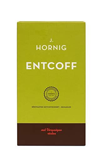 J. Hornig Koffeinfreier Kaffee gemahlen, Entcoff, 500g, entkoffeinierter Kaffee mit sanftem Geschmack, perfekt für Filterkaffee und Espressokocher