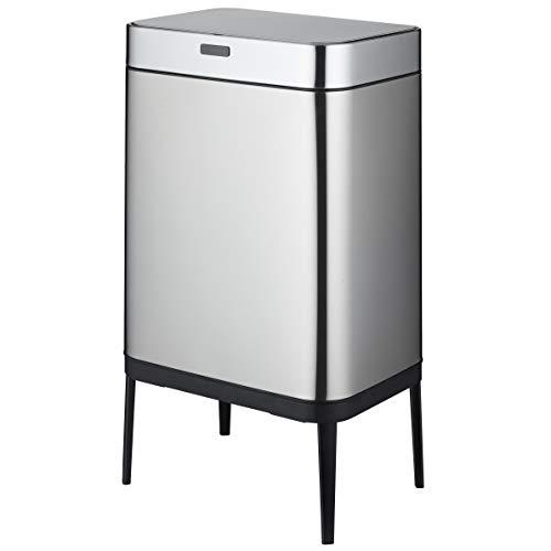 KITCHEN MOVE BAT-60LS18-1 - Papelera de Cocina automático 60 L, Acero y Negro, 42 x 30 x 77 cm
