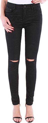 BD Damen Hight Waist Jeans Hose Röhrenjeans mit Riss am Knie in schwarz 36S (Black Jeans Skinny Denim)