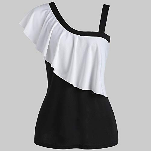 TYML Frauen Casual Rüschen T-Shirt Patchwork Zwei Töne Skew Kragen Tops Mode Weibliche Kontrast Rüschen Kragen Kragen T-Shirt -