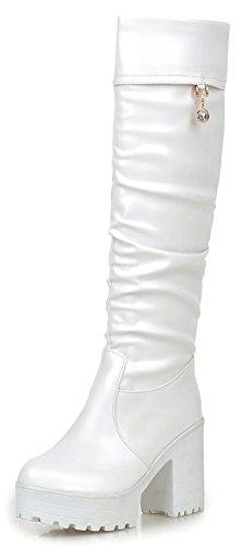 Easemax Damen Elegant Langschaft Künstliche Perlen Hohe Plateau Stiefel Mit Absatz Weiß 38 EU -