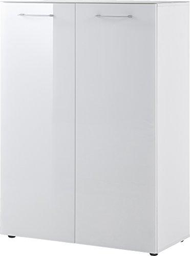 Germania Schuhschrank 3761-84 GW-SCALEA in Weiß mit Glasfront und Glasauflage, 88 x 120 x 40 cm (BxHxT)