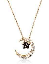 b78cf9f99d68 Lan Chen Colgante Desmontable de Doble Cara S925 Cadena de clavícula de  Plata chapada 14K Collar de Oro Rosa de Estrellas Luna…