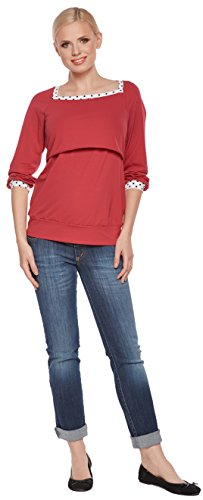 Be! Mama - T-Shirt à manches longues - Manches 3/4 - Femme Rouge
