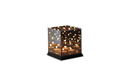 LIFA LIVING 4 Kerzen Teelicht Halter schwarz, mit 3D- Effekt und magischer Lichtermeer Optik, Kerzenständer mit Spiegelung, Holz -