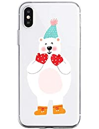 Oihxse Case Compatible con Huawei Mate 30 Funda Transparente Silicona Suave Carcasa Protectora Navidad Santa Deer Diseño de patrón Creativo Ultra Slim Flexible Cover