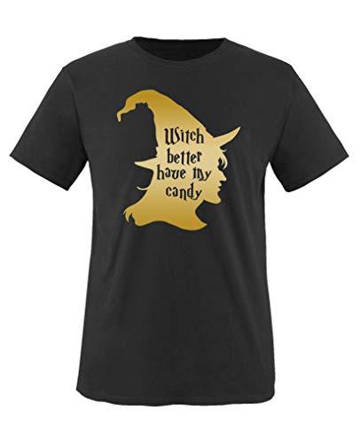 Comedy Shirts - Witch Better Have My Candy - Halloween - Mädchen T-Shirt - Schwarz/Gold Gr. 110-116 (Halloween Love My Candy)