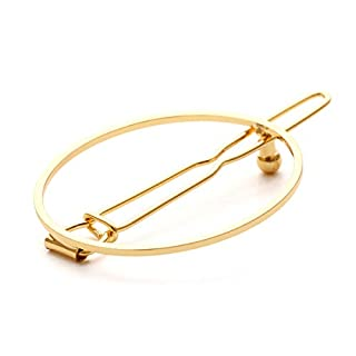 ACVIP Simple Style Geometric Metal Hairpins Hair Clip Barrettes for Women (Circle Gold)
