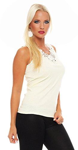 Hochwertiges Damen Träger-Top mit großer Spitze Nr. 416 (Oberteil / Unterhemd / Träger-Shirt) 100% Baumwolle ( Gelb / 52/54 ) - 2